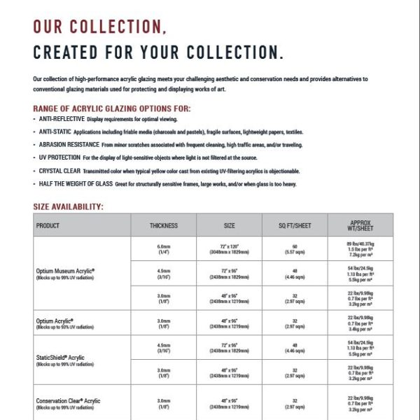 Acrylic Collection Fact Sheet