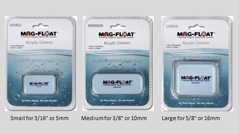 Figure 2. Mag-Float Acrylic Cleaners. Size small is for 5mm (3/16 in.) thick glass, medium is for 10mm (3/8 in.) and large is for 16mm (5/8 in.)